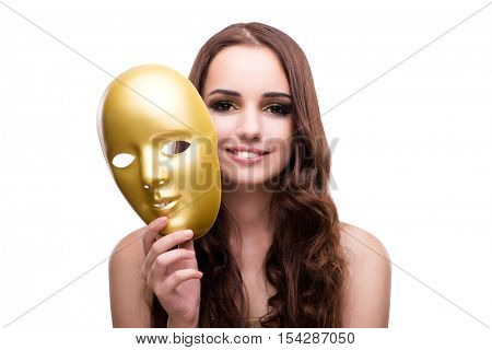 Woman with carnival mask isolated on white