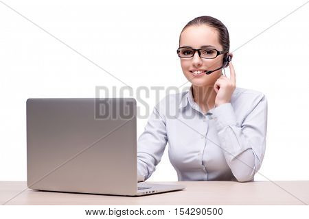 Woman in telesales concept isolated on white