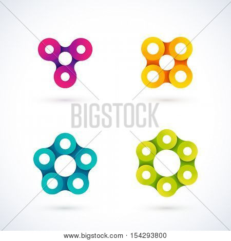 Vector set of different chain logos. Multiple colorful templates ready for use. Circles made of rounded links. Star, circle, triangle and square design elements.