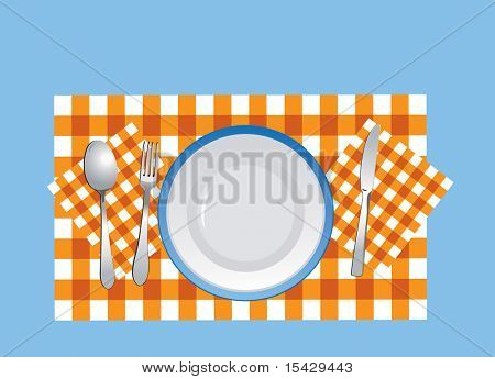 JPEG version. Flatware and plate on the tablecloth