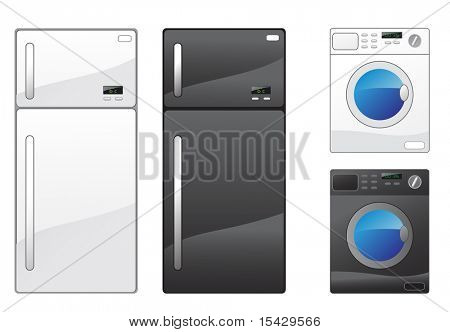 JPEG version. Modern refrigerator and washing machine