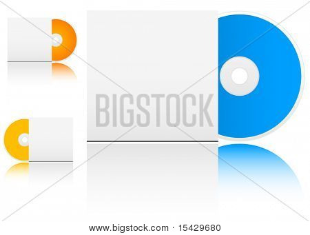 JPEG version. Compact disk with empty box on white background