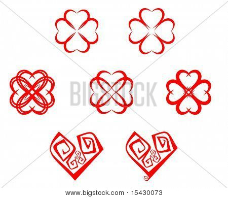Vector. Set of abstract heart symbols for design. Jpeg version also available
