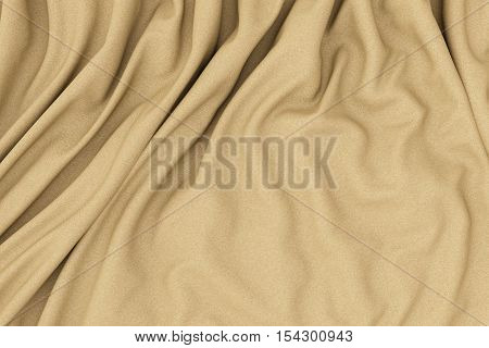 Brown fabric folds. Smooth drapes cloth decoration. 3d render