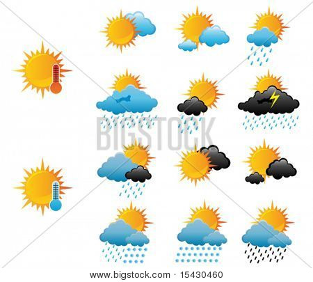 Vector. Set of weather icons for web design