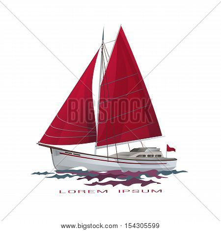 Sailing boat floating on water surface. Sea yacht with red sails and reflection isolated on white background.