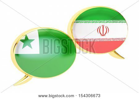 Speech bubbles Iranian-Esperanto translation concept. 3D rendering