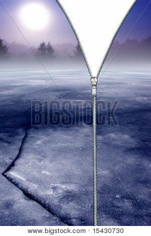 Zipper concept. Enclosing winter