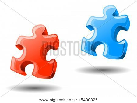 Vector version. Puzzle elements in two colors for design. Jpeg version also available