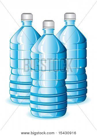 JPEG-Version. Isolierte blauen Flaschen mit sauberem Wasser für Design. Vektor-Version ist ebenfalls verfügbar