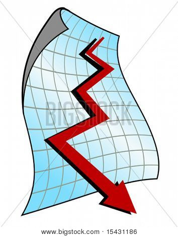 Vector version. Down graph for design and business concept. Jpeg version is also available