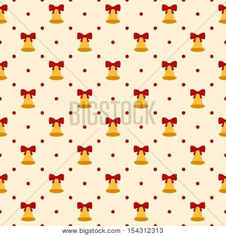 Retro seamless polka dots pattern. Holiday bell with red bow