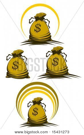 Vector version. Money bag symbols variations for design and decorate. Jpeg version is also available