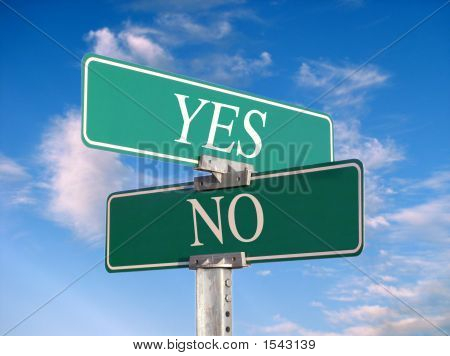 "Street Sign That Reads ""Yes, No"" - Great For Concept Illustration"