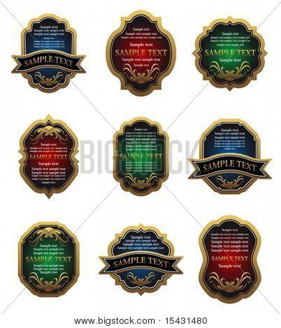 Vector version. Set of golden vintage labels for design food and beverages. Jpeg version is also available