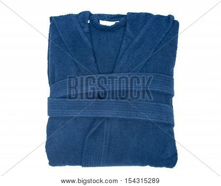 Blue cotton velour bathrobe isolated on white background