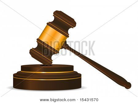 Jpeg version. Gavel symbol as a concept of law or auction. Vector version is also available