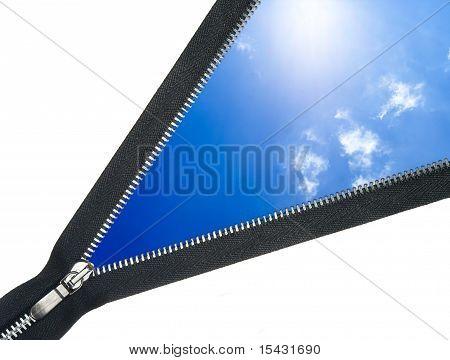 zipper overlooks the blue sky