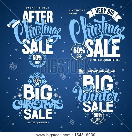 Christmas Sale Design Templates Set with Calligraphy Inscriptions and Christmas Design Elements. Easy to edit and Customize. Vector Stock Illustration.
