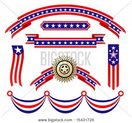 Vector version. American patriotic ribbons set for design and decorate. Jpeg version is also available