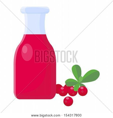 Cranberries and cranberry juice isolated on white background.