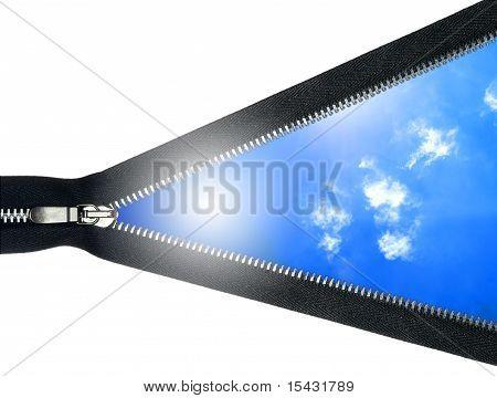 open zipper isolated