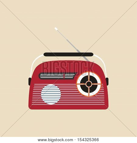 Vector icon of red radio with antenna on the beige background.