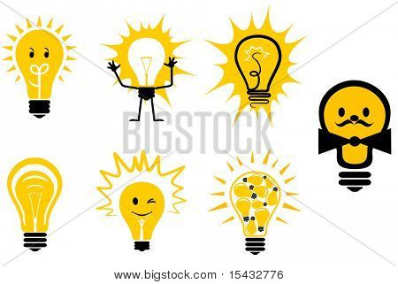 Set of light bulb symbols for design. Vector version also available