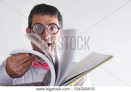 Happy Geeky Man Reads A Book