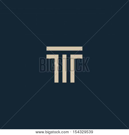 Unusual geometric letter T. Architecture vector logo. Isolated monogram