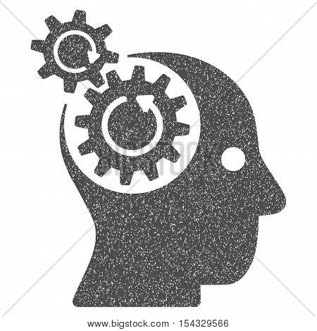Brain Gears Rotation grainy textured icon for overlay watermark stamps. Flat symbol with dust texture. Dotted vector gray ink rubber seal stamp with grunge design on a white background.