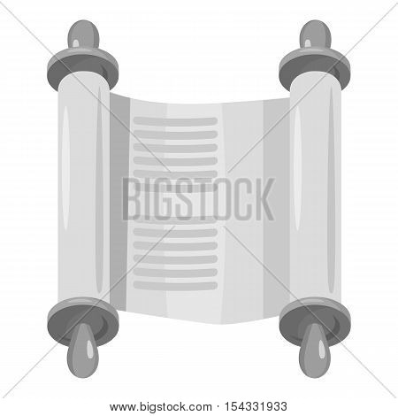 Scroll icon. Gray monochrome illustration of scroll vector icon for web
