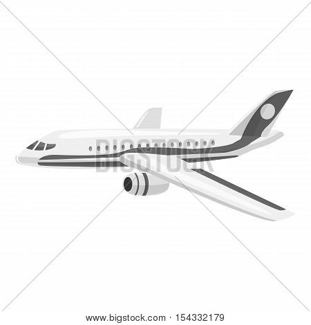 Plane icon. Gray monochrome illustration of plane vector icon for web