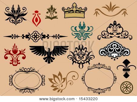 Set of royal heraldic elements 5. jpeg version also available in gallery