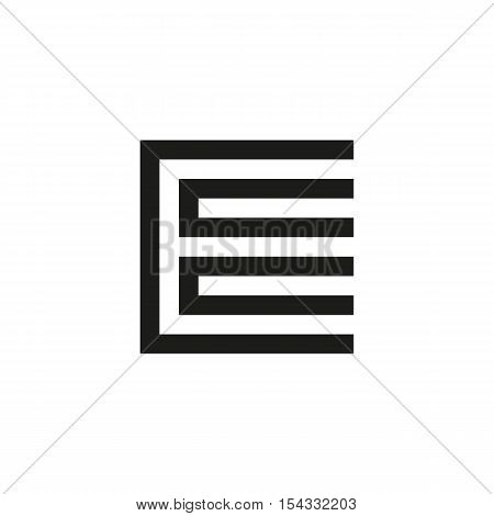 Unusual geometric letter E. Architecture vector logo. Isolated monogram