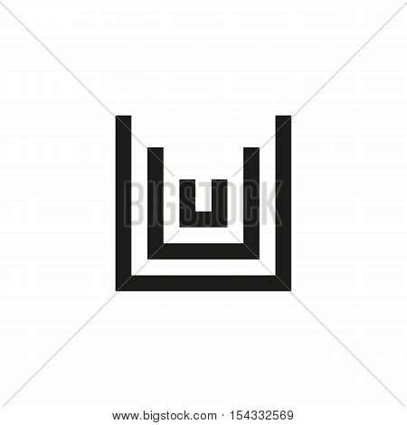 Unusual geometric letter U. Architecture vector logo. Isolated monogram