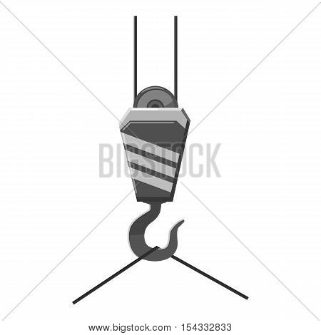Hook from crane icon. Gray monochrome illustration of hook from crane vector icon for web