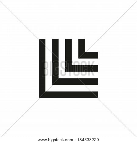 Unusual geometric letter L. Architecture vector logo. Isolated monogram
