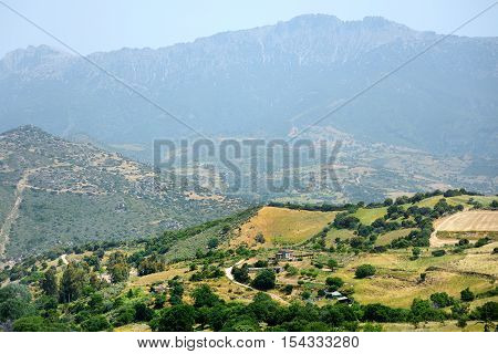 Scenic landscape of mountains of Sardinia on summer day
