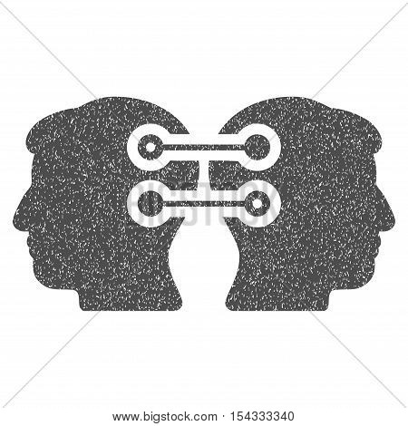 Dual Heads Interface Connection grainy textured icon for overlay watermark stamps. Flat symbol with dust texture. Dotted vector gray ink rubber seal stamp with grunge design on a white background.