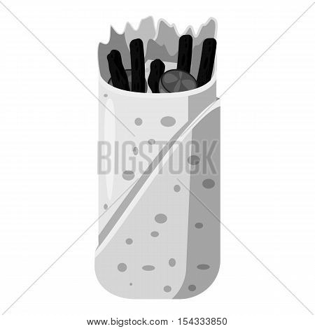 Pita icon. Gray monochrome illustration of pita vector icon for web