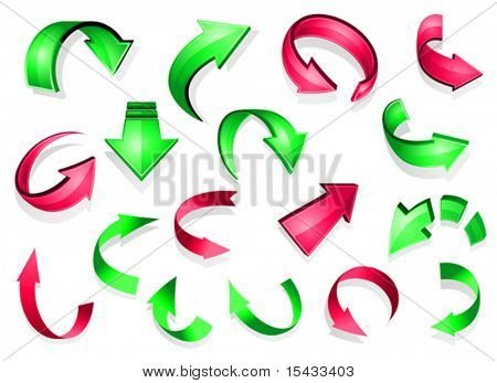 Set of glossy arrow icons for web design. Jpeg version also available