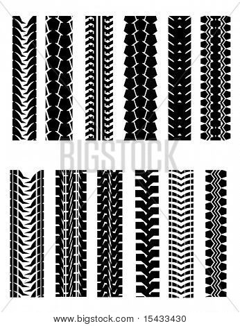 Set of tire shapes isolated on white for design. Vector version also available