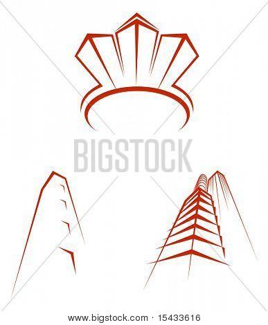 Símbolos de bienes raíces. También disponible en la versión Vector