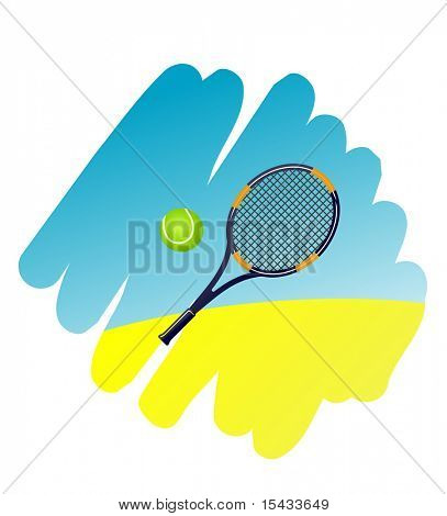 Tennis symbol on white background for design. Vector version also available