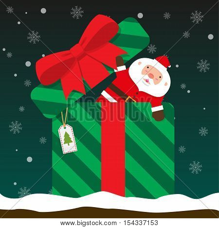 cute fat big Santa Claus come out of gift boxon falling snow flake green background