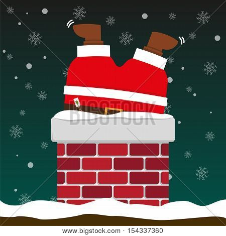 cute fat big Santa Claus stuck in chimney on falling snow flake green background