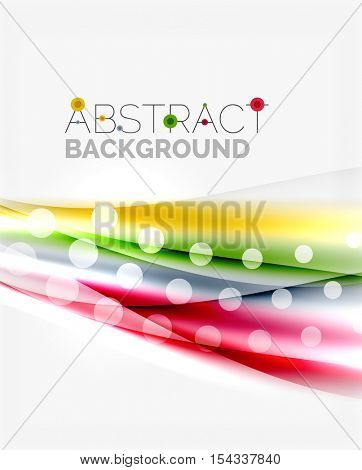 Color wavy lines with light shiny effects. Abstract background template with blank space