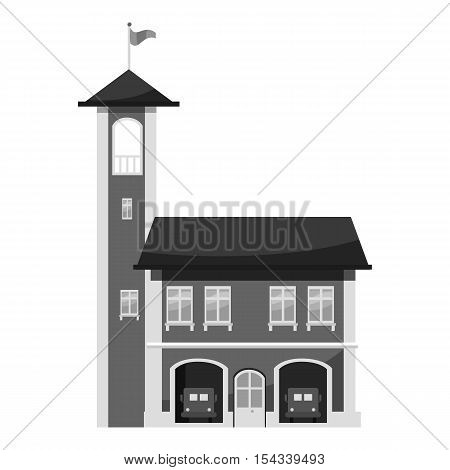 Fire station with tower icon. Gray monochrome illustration of fire station with tower vector icon for web
