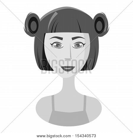 Girl with hairstyle icon. Gray monochrome illustration of girl with hairstyle vector icon for web